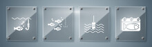 Set Calendar With A Fish, Fishing Float In Water, Fishing Hook Under Water With Fish And Fishing Hook Under Water With Fish. Square Glass Panels. Vector