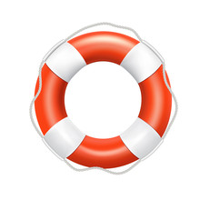 Orange Lifebuoy With A Rope On A White Background, Vector.