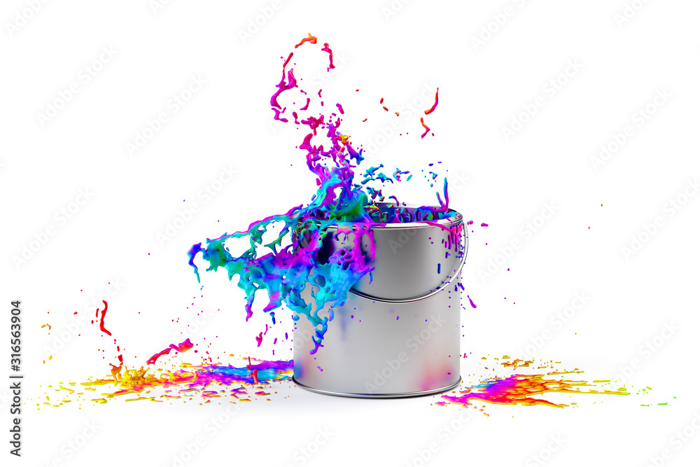 Fototapeta Rainbow colored paint splashing from silver shiny paint bucket on to white background