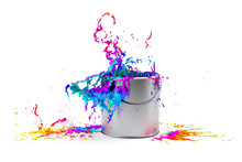 Rainbow Colored Paint Splashin...