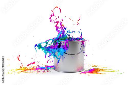 Fototapeta Rainbow colored paint splashing from silver shiny paint bucket on to white background obraz