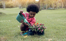 African Boy Is Playing In The Garden