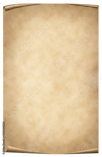 vintage parchment or papyrus isolated on white Canvas Print