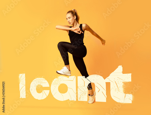 Cuadros en Lienzo  Fitness girl stepping on white i can't lettering