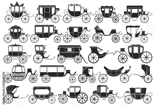 Carta da parati Vintage carriage vector black,simple set icon