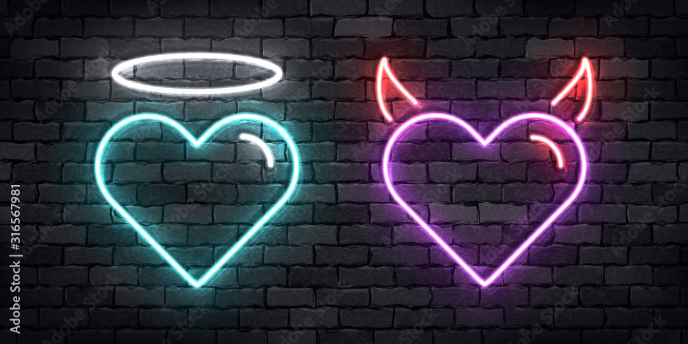 Obraz Vector realistic isolated neon sign of Angel and Devil hearts for decoration and covering on the wall background. Concept of Happy Valentine Day. fototapeta, plakat