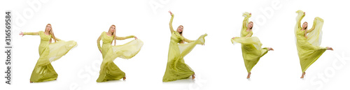Photo Young woman in elegant long green dress isolated on white