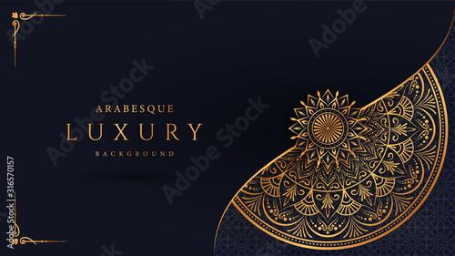 Photo Luxury mandala background with golden arabesque pattern arabic islamic east style