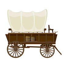 Wild West Wagon Vector Icon.Cartoon Vector Icon Isolated On White Background Wild West Wagon .
