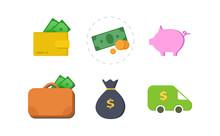 Monay Flat Icon Set. Suitcase With Money, Dollar Bank Van Icons