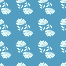 Floral Seamless Pattern. Vector Textures. Simple Light Blue Flowers With Stamens On A Blue Background. Hand Drawn