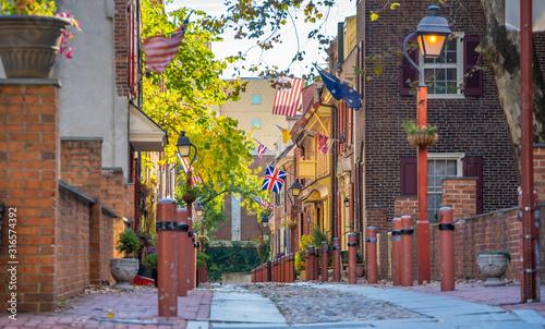 The historic Old City in Philadelphia, Pennsylvania. Elfreth's Alley