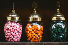 Various Sweets In Jars On A Sh...