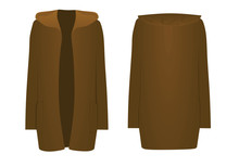 Brown  Hooded Cardigan. Front Open. Vector Illustration