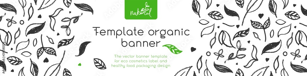 Fototapeta Banner organic ingredients, template design for healthy food concept, vegetarian food banner for eco store and market, eco-friendly background, green thinking concept, environmentally friendly banner.