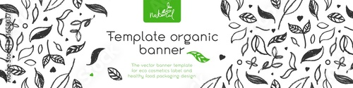 Fototapeta Banner organic ingredients, template design for healthy food concept, vegetarian food banner for eco store and market, eco-friendly background, green thinking concept, environmentally friendly banner. obraz