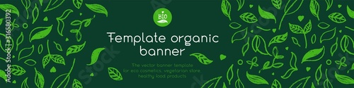 Obraz Banner organic ingredients, template design for healthy food concept, vegetarian food banner for eco store and market, eco-friendly background, green thinking concept, environmentally friendly banner. - fototapety do salonu