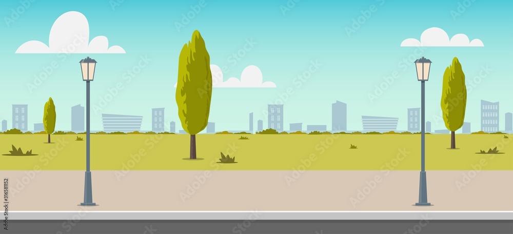 Droga pusta ulica miasta. Pusta ulica lub aleja w parku miejskim. Ulica w słoneczny letni dzień. Płaska wektorowa ilustracja, tło dla animowanego wideo, materiał filmowy.