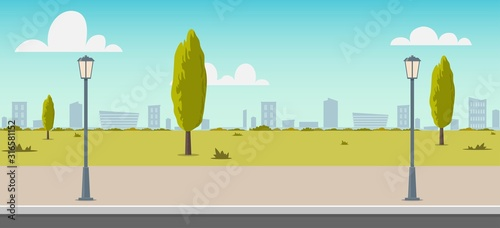 Obraz Road empty city street. Empty street or alley in a city park. Street on a Sunny summer day. Flat Vector Illustration, background for an animated video, footage. - fototapety do salonu