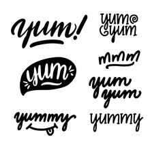 Set Of Yum-yum Inscription For Stickers, Advertising Posters, Menus And Food Industry. Symbol Of Delicious Food