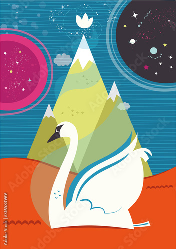 Fototapeta Vector Illustration of a swan in spiritual theme.