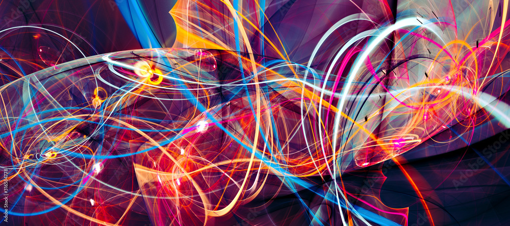 Fototapeta Abstract bright multicolor composition. Modern dynamic background. Fractal artwork for creative graphic design