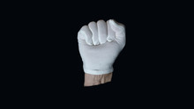 A White Gloved Hand Isolated O...