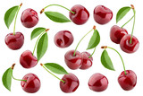 cherry isolated on white background, full depth of field, clipping path