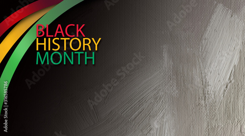 Photo Black History Month title treatment with ribbons graphic background