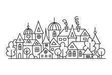 Hand-drawn Small Town In Outline Style. Vector Doodle Illustration With City Panorama. Composition Of Ancient Houses. Coloring Page.