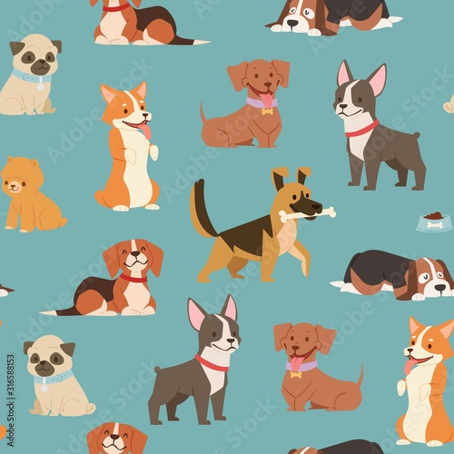 obraz lub plakat Dogs and puppies different breeds wrapping paper with husky, bulldog, schnuzer, spaniel vector seamless pattern illustration. Cartoon pets dogs background.