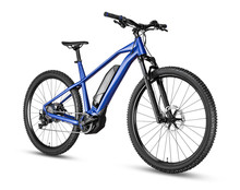 Blue Modern Mid Drive Motor E Bike Pedelec With Electric Engine Middle Mount. Battery Powered Ebike Isolated White Background. Innovation Transportation Concept.