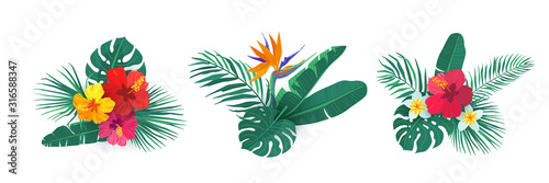 Tropical hawaii flower bouquet vector set. Composition with exotic plants in simple flat style for summer print design. Tropic element isolated on white background