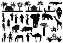 Africa Vector Set, Black And White Silhouettes, Icons