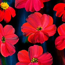 Floral Seamless Pattern Of Abstract Red Flowers