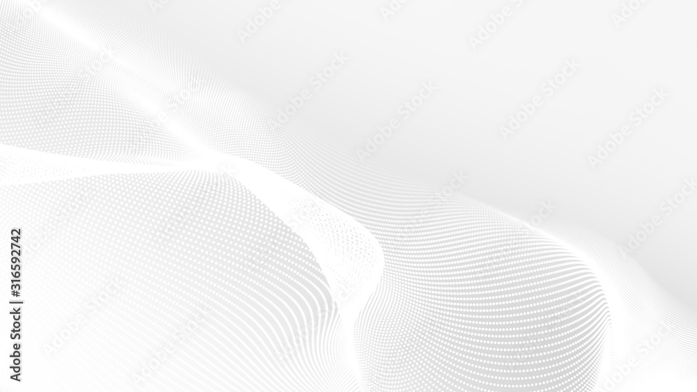 Fototapeta Dot white gray wave light technology texture background. Abstract big data digital concept. 3d rendering.