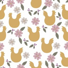 Easter Seamless Pattern With Chicken Silhouette And Flowers. Perfect For Wallpapers, Pattern Fills, Web Page Backgrounds, Surface Textures, Textile. Vintage Yellow Background.