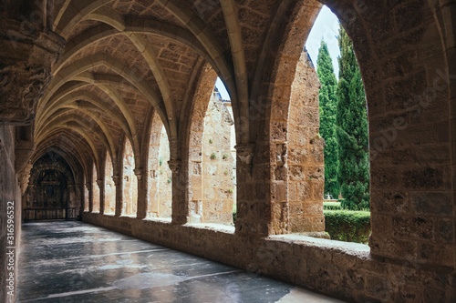 Canvas Print Covered bypass gallery of the church of the Мonastery De Piedra in Aragon