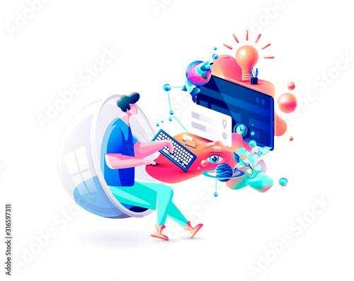Fotografie, Tablou Xtreme colorful illustration man gamer manager distant remote work internet mark