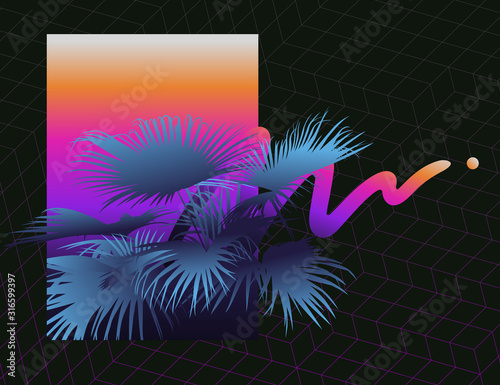 vapor wave neon gradient with grid line and palm tree Canvas Print
