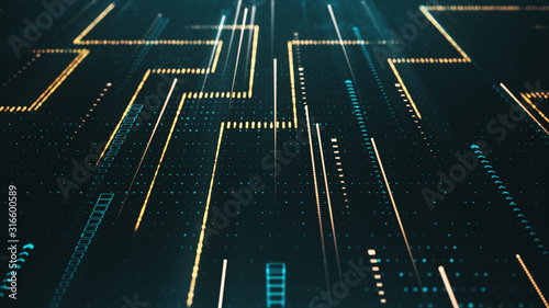 Obraz Creative digital background for technology concept. Futuristic surface with glitter particles motion. Abstract texture of a computer code in the cyber space. - fototapety do salonu