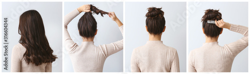 Collage of beautiful woman with different hairstyles on light background