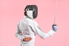 Young Female Fencer On Color B...