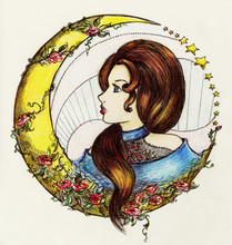 Girl With Moon And Flowers