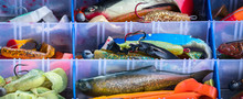 Fishing Tackle Box With Various Colored Rubber Wobblers
