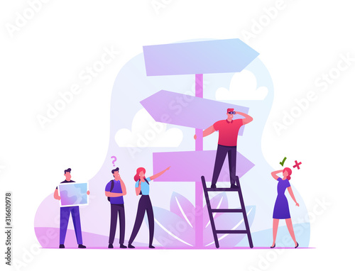 Choice Way Concept with Confused Business People Stand at Road Pointer with Hard and Easy Directions, Making Decision what Path to Choose. Crossroad Life Challenge Cartoon Vector Illustration