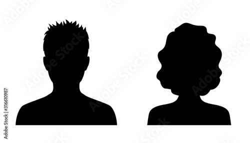 Obraz Man and woman head icon silhouette. Male and female avatar profile sign, face silhouette logo – stock vector - fototapety do salonu
