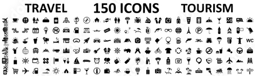 Foto Travel and tourism set 150 icons, vocation signs for web development apps, websi