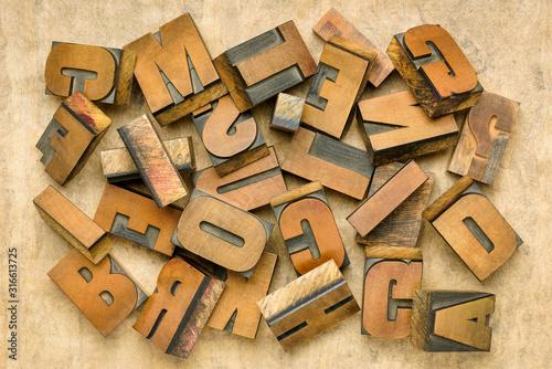 Fototapety, obrazy: vintage letterpress wood type printing blocks