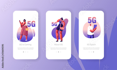Fototapeta 5g Network Wireless Technology Mobile App Page Onboard Screen Set. Characters with Gadgets Use High-speed Internet for Digital Devices Concept for Website or Web Page, Cartoon Flat Vector Illustration obraz